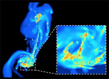 Um frame da simulação das duas galáxias Antena em colisão. Aqui, a forma das galáxias é alterada após o seu primeiro encontro. A alta resolução permite aos astrofísicos explorarem os mais pequenos detalhes. As estrelas formam-se nas regiões mais densas (amarelo e vermelho) sob o efeito da turbulência de compressão. A formação de estrelas é aqui mais intensa que em galáxias normais, como a Via Láctea. Crédito: F. Renaud/CEA-Sap.