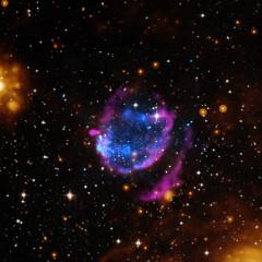 Créditos: X-ray: NASA/CXC/Morehead State Univ/T.Pannuti et al.; Optical: DSS; Infrared: NASA/JPL-Caltech; Radio: NRAO/VLA/Argentinian Institut of Radioastronomy/G.Dubner